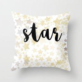 Golden Stars Throw Pillow