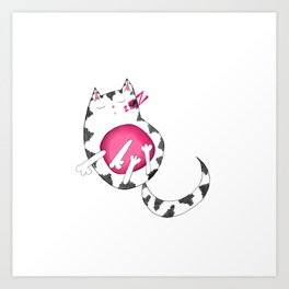 Sleepy Striped Kitty Cat Art Print