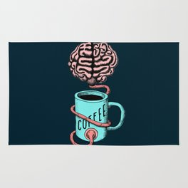 Coffee for the brain. Funny coffee illustration Rug