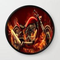 motorbike Wall Clocks featuring FIRE MOTORBIKE by Acus