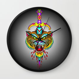 Tiger Meets Dagger Wall Clock