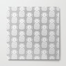 Mid Century Modern Pineapple Pattern Grey Metal Print