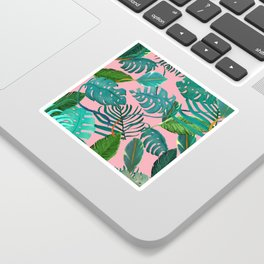 pinky tropical leaves Sticker