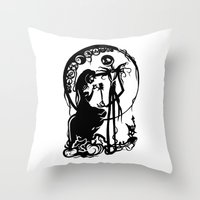 nightmare before christmas Throw Pillows featuring A Nightmare Before Christmas by iankingart