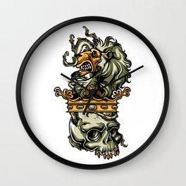 Deathly Lion -  Lion on Dead Skull Wall Clock