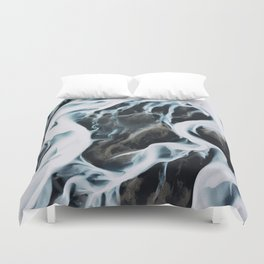 Aerial of an abstract River in Iceland Duvet Cover