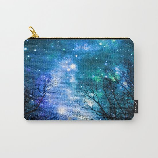 Black Trees Blue Turquoise Teal Space Carry-All Pouch