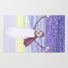 snowman with tufted titmice Rug