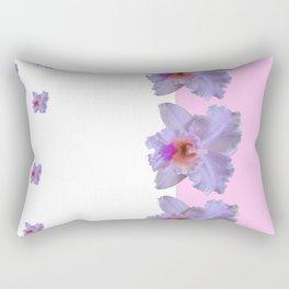 TROPICAL PURPLE CATTLEYA ORCHIDS WHITE-PINK ART Rectangular Pillow