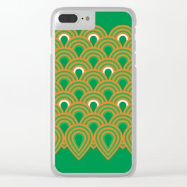retro sixties inspired fan pattern in green and orange Clear iPhone Case