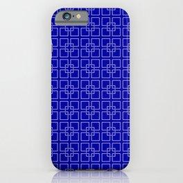 Dark Earth Blue and White Interlocking Square Pattern iPhone Case