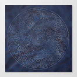 Vintage Circle of Life Mandala full color on blue swirl Distressed Canvas Print