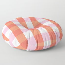 lavender orange plaid gingham Floor Pillow