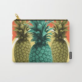 Pineapple Print - Tropical Decor - Botanical Print - Pineapple Wall Art - Orange, Blue - Minimal Carry-All Pouch