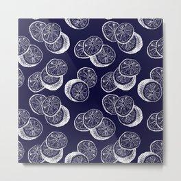 Indigo Citrus Metal Print
