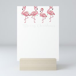 Merry Christmas Flamingo Christmas Flamingos Mini Art Print