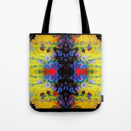 YELLOW GARDEN GOLD BLUE FLOWERS BLACK  PATTERN ART Tote Bag