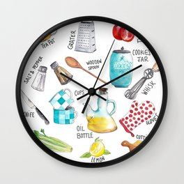 Kitchen set illustration Wall Clock