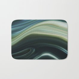 Green and Blue Marble Swirl Design Bath Mat