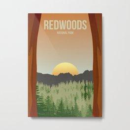 Redwoods National Park - Travel Poster -  Minimalist Art Print Metal Print