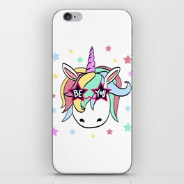 "Perfect Gift Tee With An Illustration Of A Unicorn ""Be You!"" T-shirt Design Rainbow Stars Clouds iPhone Skin"