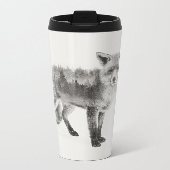 Fox Black and White Double Exposure Metal Travel Mug