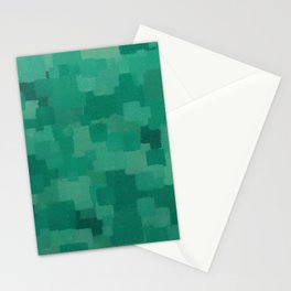 Squares Within Squares Green Stationery Cards
