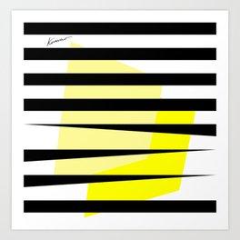 Yellow Abstract Black Stripes Art Print
