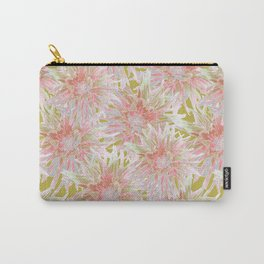 Pink dahlias on yellow Carry-All Pouch
