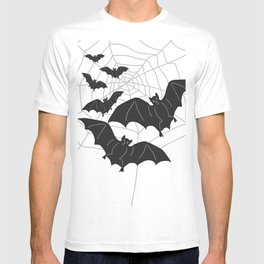 Black Bats with Spider Web Halloween T-shirt