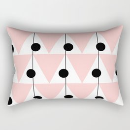 Vintage Vibes Pastel Pink and Black Triangles Rectangular Pillow