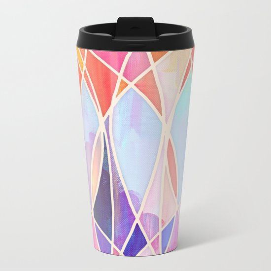 Purple & Peach Love - abstract painting in rainbow pastels Metal Travel Mug