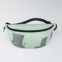 Sailing With The Sun - Minimal Green Landscape Fanny Pack