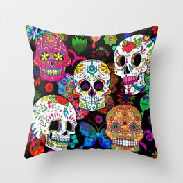Rocking Color Sugar Skull Day Of The Dead Throw Pillow