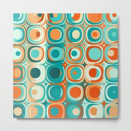 Orange and Turquoise Dots Metal Print