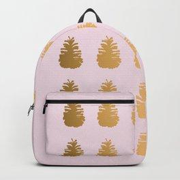 Golden Rose Pine Cone Design Backpack