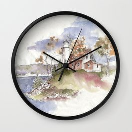 Summer at Eagle Harbor Lighthouse Wall Clock