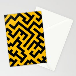Black and Amber Orange Diagonal Labyrinth Stationery Cards