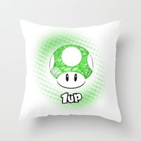 mario kart Throw Pillows featuring 1-UP from Mario by Art & Be