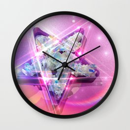 Crystal Star, Angel Aura Pentacle Wall Clock