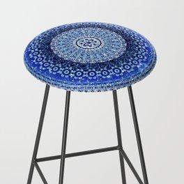 Cobalt Tapestry Mandala Bar Stool