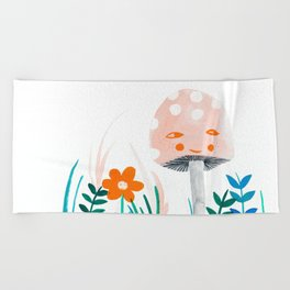 pink mushroom with floral elements Beach Towel