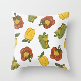 Colorful bell pepper set Throw Pillow