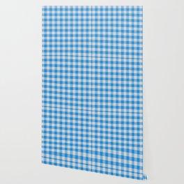 Dodger Blue Buffalo Plaid Wallpaper