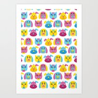 Cat Dogs Pattern Art Print