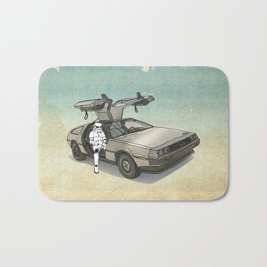 Stormtrooper in a DeLorean - waiting for the car club Bath Mat