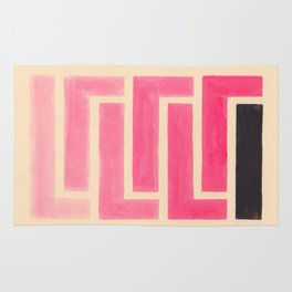 Pink Ombre Geometric Pattern Rug