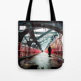 New York City Williamsburg Bridge in the Rain Tote Bag