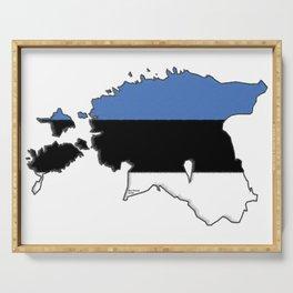 Estonia Map with Estonian Flag Serving Tray