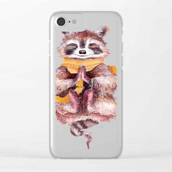 Raccoon meditates Clear iPhone Case